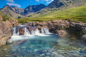 Small waterfall on the Isle of Skye in Scotland