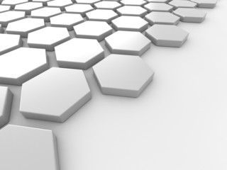 white background with hexagons and place