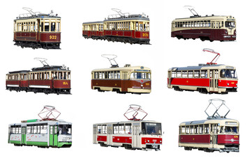 Moscow tram on a white background isolated