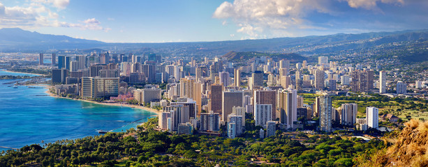 Spectacular view of Honolulu city, Oahu