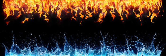fire and water on black - opposite energy