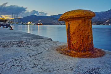 Night photo of Argostoli town port, Kefalonia, Ionian islands, Greece