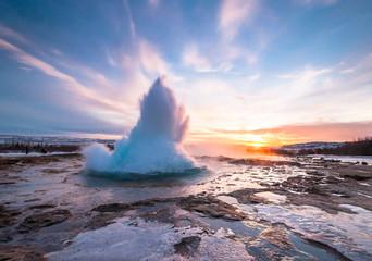 Geyser Strokkur in Iceland, eruption