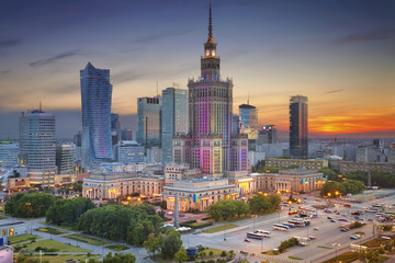Warsaw. Image of Warsaw, Poland during twilight blue hour.
