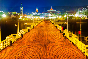 Wooden pier at night in Sopot, Poland.