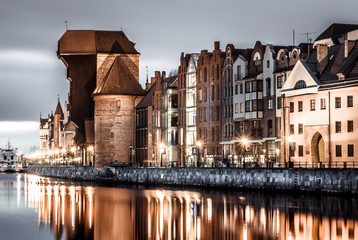 Gdansk old town crane and river at sunset