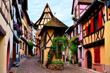 Colorful timbered houses of the Alsatian town of Eguisheim, France