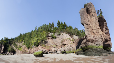 Low tide on the Bay of Fundy at Hopewell Rocks, New Brunswick, Canada.