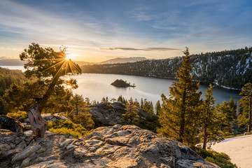 Emerald Bay on Lake Tahoe with snow on mountains