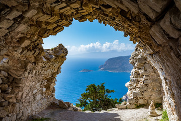 View from ruins of a church in Monolithos castle, Rhodes island, Greece