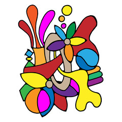 Abstract art colorful on white background.