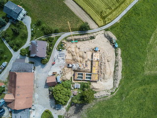 Aerial view of construction site in rural area
