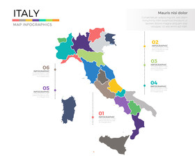 Italy country map infographic colored vector template with regions and pointer marks