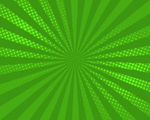 Green pop art comic background, vector illustration. Burst, halftone pattern texture, abstract dots wallpaper.