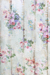vintage style wooden background with floral pattern