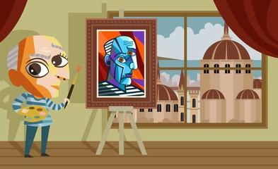 cubist cute cartoon painter in workshop