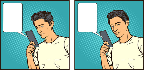 Vector comic book illustration of a man reacting to something seen on his smartphone. Some elements on separate layers.