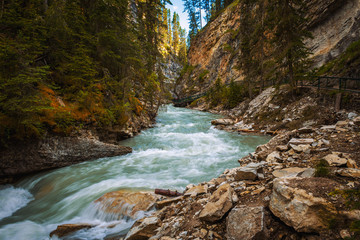 Walkway along the Johnston Creek in Bow Valley Parkway, Banff National Park