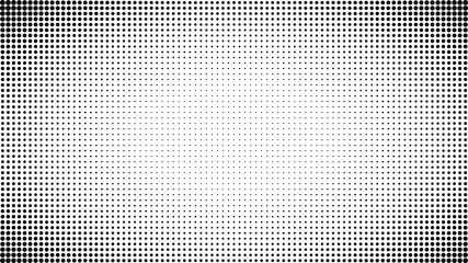 Abstract black and white dots background. Comic pop art style. Light effect. Gradient background with dots.