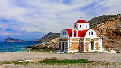 Greece - nature and traditions. Small church near the sea in Crete island