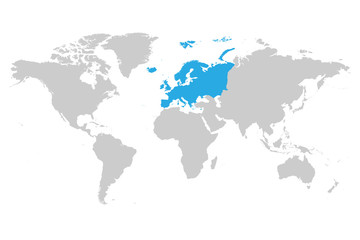 Europe continent blue marked in grey silhouette of World map. Simple flat vector illustration.