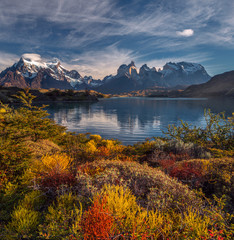 The National Park Torres del Paine, Lakes and mountains colorful autumn landscape. Patagonia, Chile