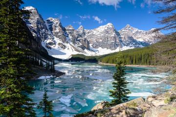 View of Valley of the Ten Peaks moraine lake wwith blue sky in springs, Alberta, Canada