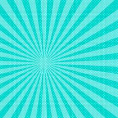 Blue pop art sunbeams background. Vector illustration.