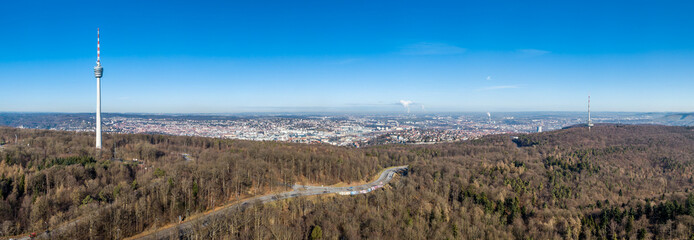 Aerial view of the city of Stuttgart and the television towers
