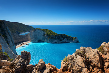 Ship Wreck beach and Navagio bay. The most famous natural landmark of Zakynthos, Greek island in the Ionian Sea