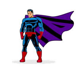 Superhero in City. Pop ar retro style.