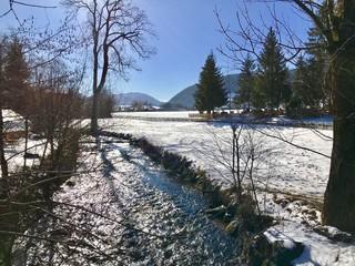 Winterlandschaft in Hausham (Oberbayern, Bayern)
