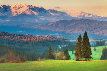 Tatra mountains at the sunset