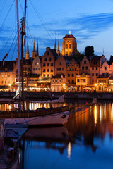 Old Port City of Gdansk at Twilight Evening in Poland
