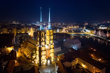 Aerial night drone view on Ostrow Tumski in Wroclaw.