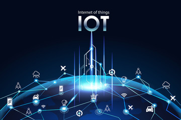 Internet of things (IOT), devices and connectivity concepts on a network, cloud at center. digital circuit board above the global Earth.