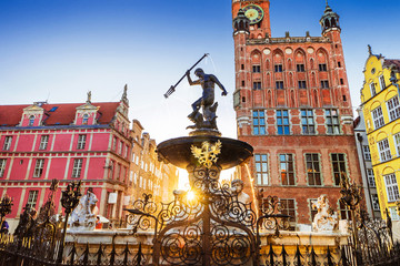 Beautiful fountain in the old center of Gdansk city, Poland