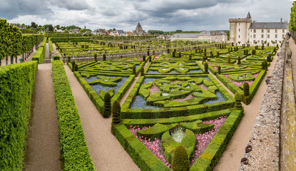 The famous gardens at the Chateau of Villandry in the Indre et Loire region of the Loire Valley, France