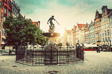 Neptune's fountain in the Old Town of Gdansk.