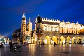 Krakow Market Square at night, Poland
