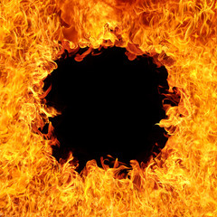 Fire flames with black hole,blaze fire flame texture background