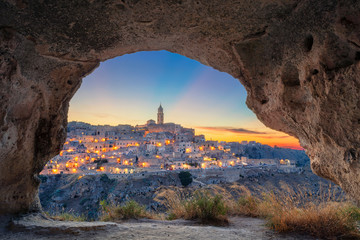 Matera, Italy. Cityscape image of medieval city of Matera, Italy during beautiful sunset.