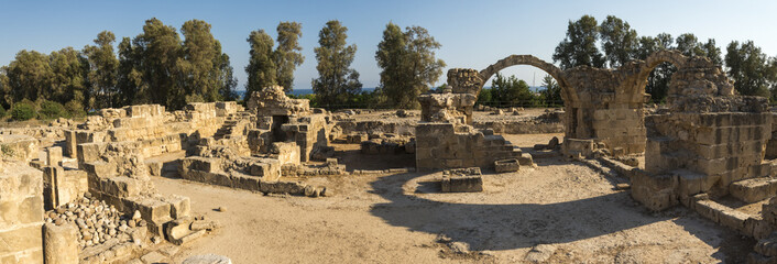 Panorama of Saranta Kolones ancient fortress ruins in Paphos Archaeological Park, Cyprus