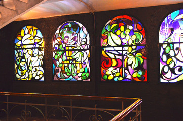 Vintage stained glass Windows with colorful patterns