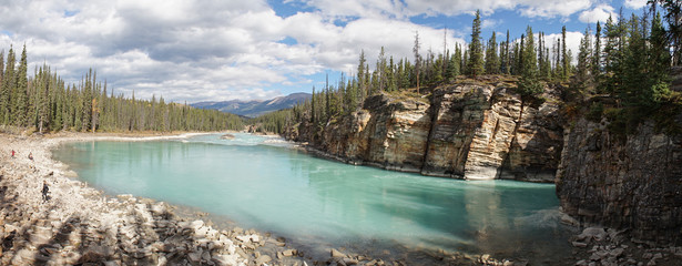 Lower River at Athabasca Falls in Jasper National Park, Canada.