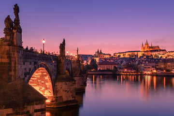 Charles bridge and Prague castle at dusk