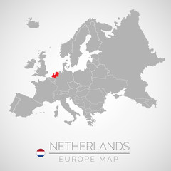 Map of European Union with the identication of Netherlands. Map of Netherlands. Political map of Europe in gray color. European Union countries. Vector stock.