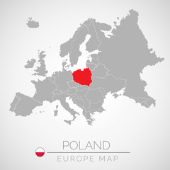 Map of European Union with the identication of Poland. Map of Poland. Political map of Europe in gray color. European Union countries. Vector stock.