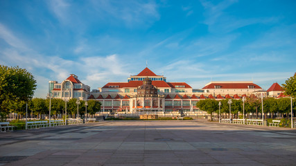Beautiful architecture of Sopot with Spa House (Dom Zdrojowy) at morning, Poland.