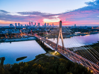 Beautiful sunset city panorama in Warsaw